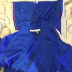 STARTER BLUE SWEATSUIT WITH WHT, RED, STRIPES